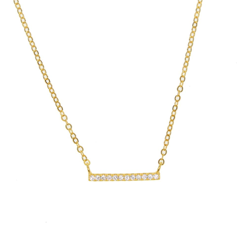 Simple Cz Bar Necklace 925 Sterling Silver Choker Chain for Girl ... 5fdecf818