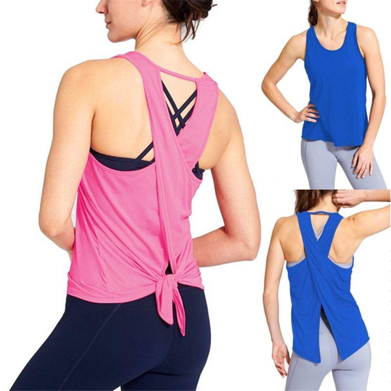 Espalda Abierta Crop Mujeres Hombro Mangas Racerback Sin Camisetas Entrenamiento Fitness Gimnasio Fuera Del Camiseta Tops Yoga Deporte 8m0Nwn