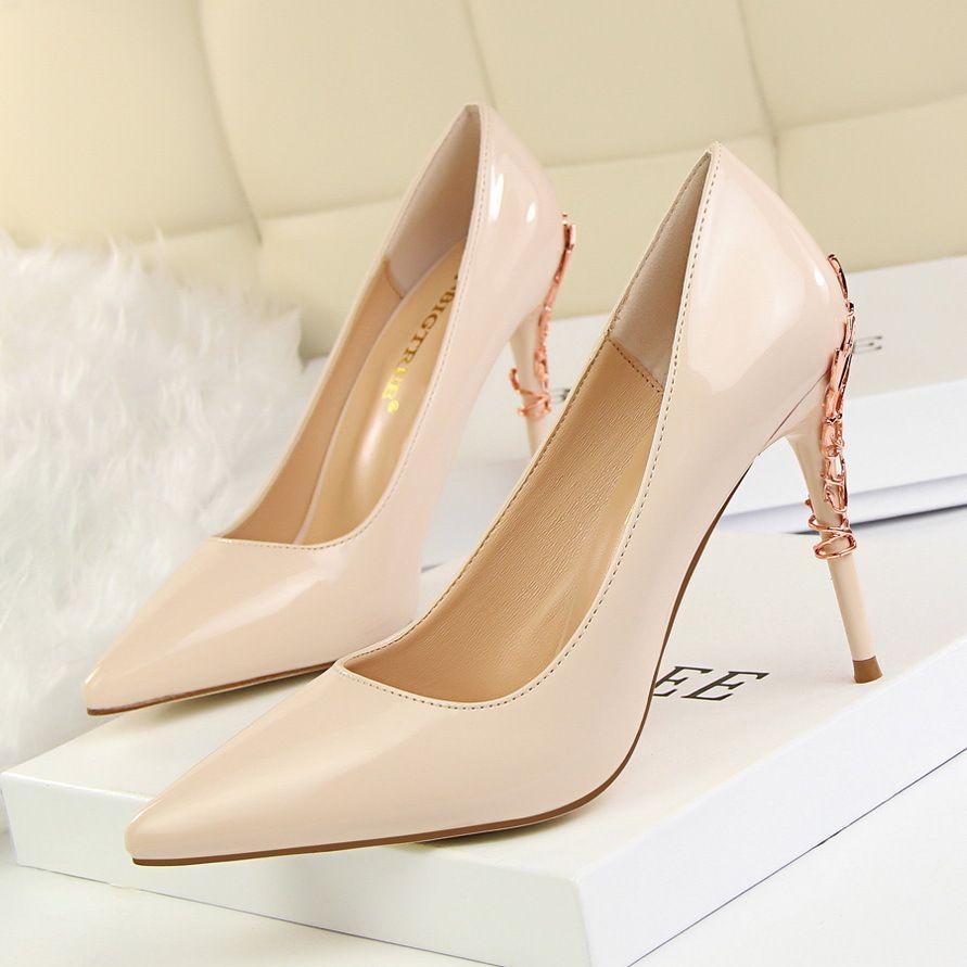 51489c8c896c Patent Leather Women Heels Ladies Shoes Stiletto Metal Decoration High Heels  Wedding Shoes Pumps Women Shoes Woman High Heel Black Heels Clogs For Women  ...