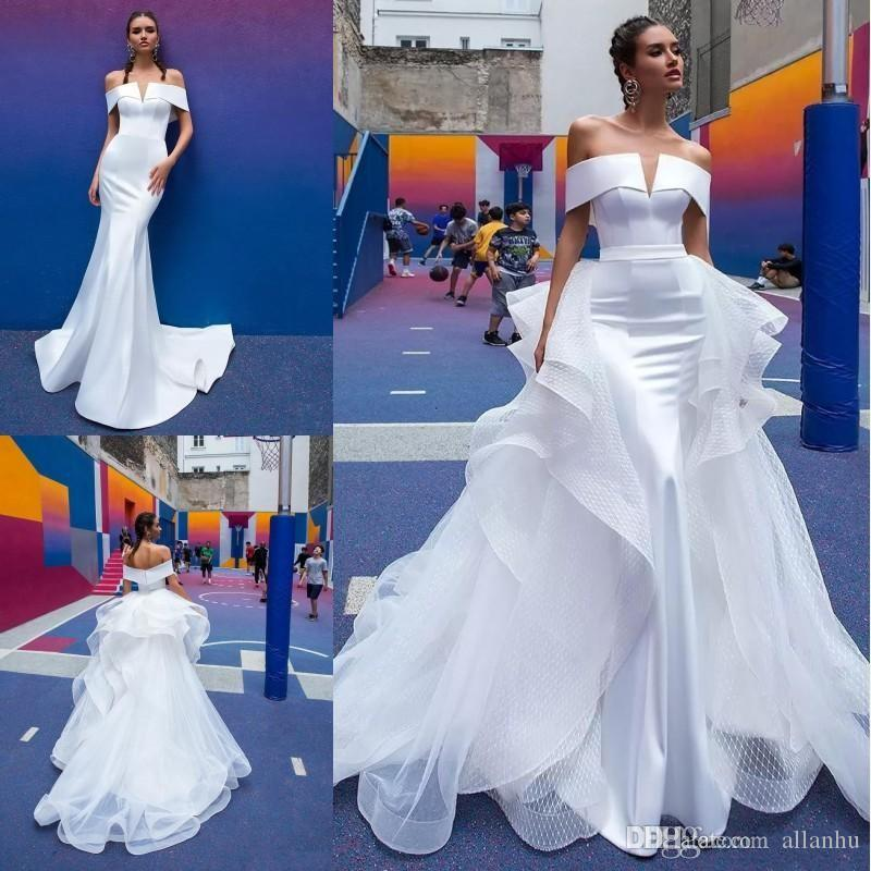 Berta 2019 Mermaid Wedding Dresses With Detachable Train Off The Shoulder Short Sleeve Pleats Open Back Satin Beach Bridal Gowns