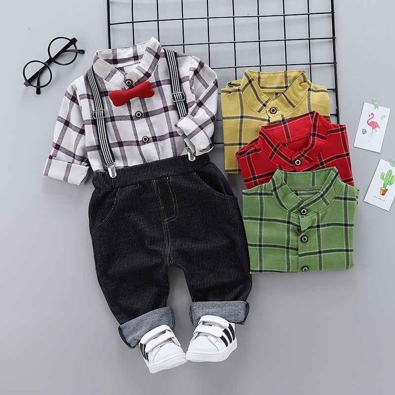 3e7ceced7 2019 Good Quality T Shirt+Bib Pant Clothes Red Tie Children S Boys ...