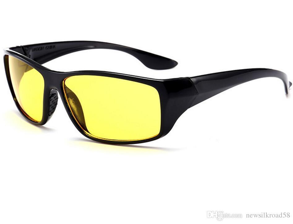 d2e6df2632a87 Compre Unisex Hd Lente Amarela Óculos De Sol Das Mulheres Dos Homens Óculos  De Visão Noturna Anti Reflexo Óculos De Sol Óculos De Condução De Plástico  10 ...