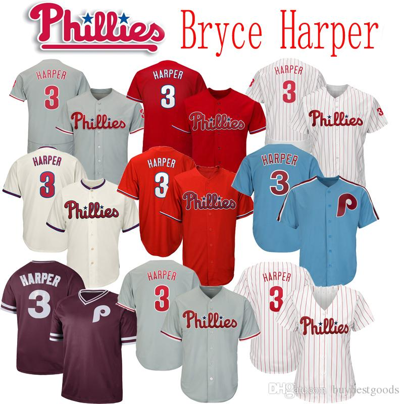 new product ab759 48498 2019 New Phillies 3 Bryce Harper Jersey Men Women Youth Baseball Jerseys  Stitched White Red Grey Cream Blue