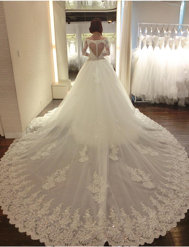 Vente En Gros Manches Longues Robe De Mariée Mariée Longue Traîne Robes De Mariée Robes De Mariée N1032