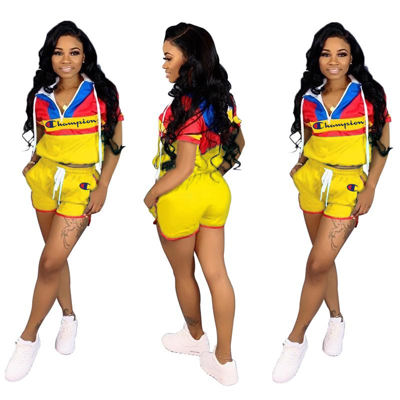 Women Champion Letter Print Patchwork Tracksuit Color Match Hooded Zipper Crop Jacket Drawstring Shorts Hoodies 2pcs Set Sports Suit A436