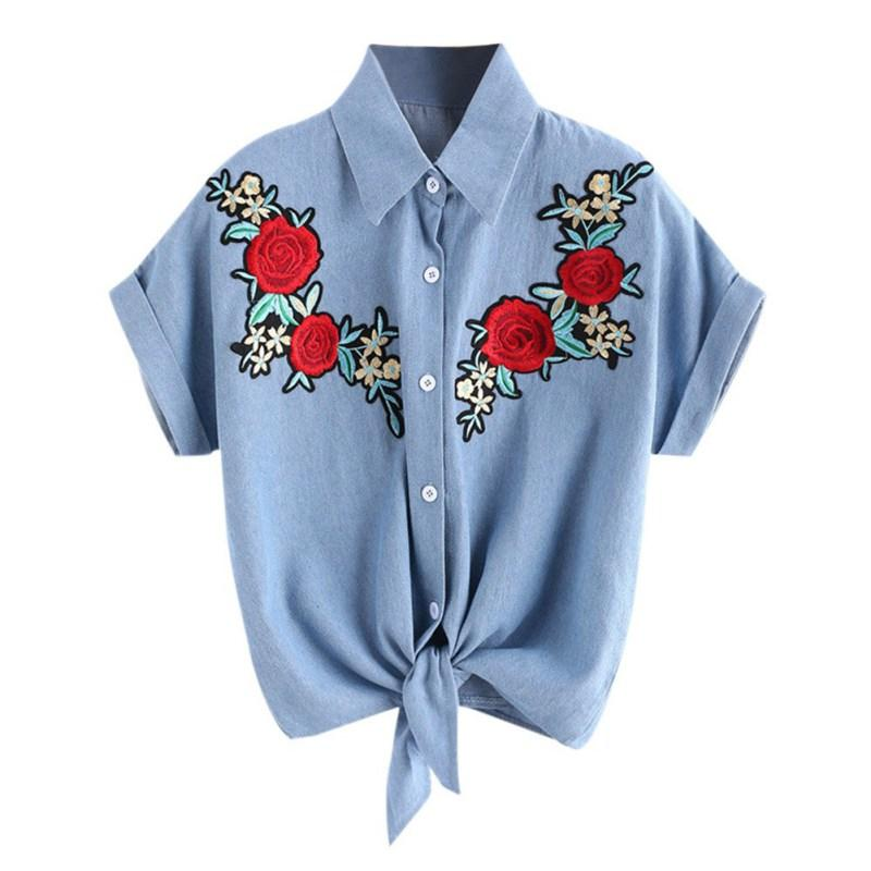 Rose Embroidered Blouse Tops Summer Short Sleeve Female Shirt Denim blue Blouse