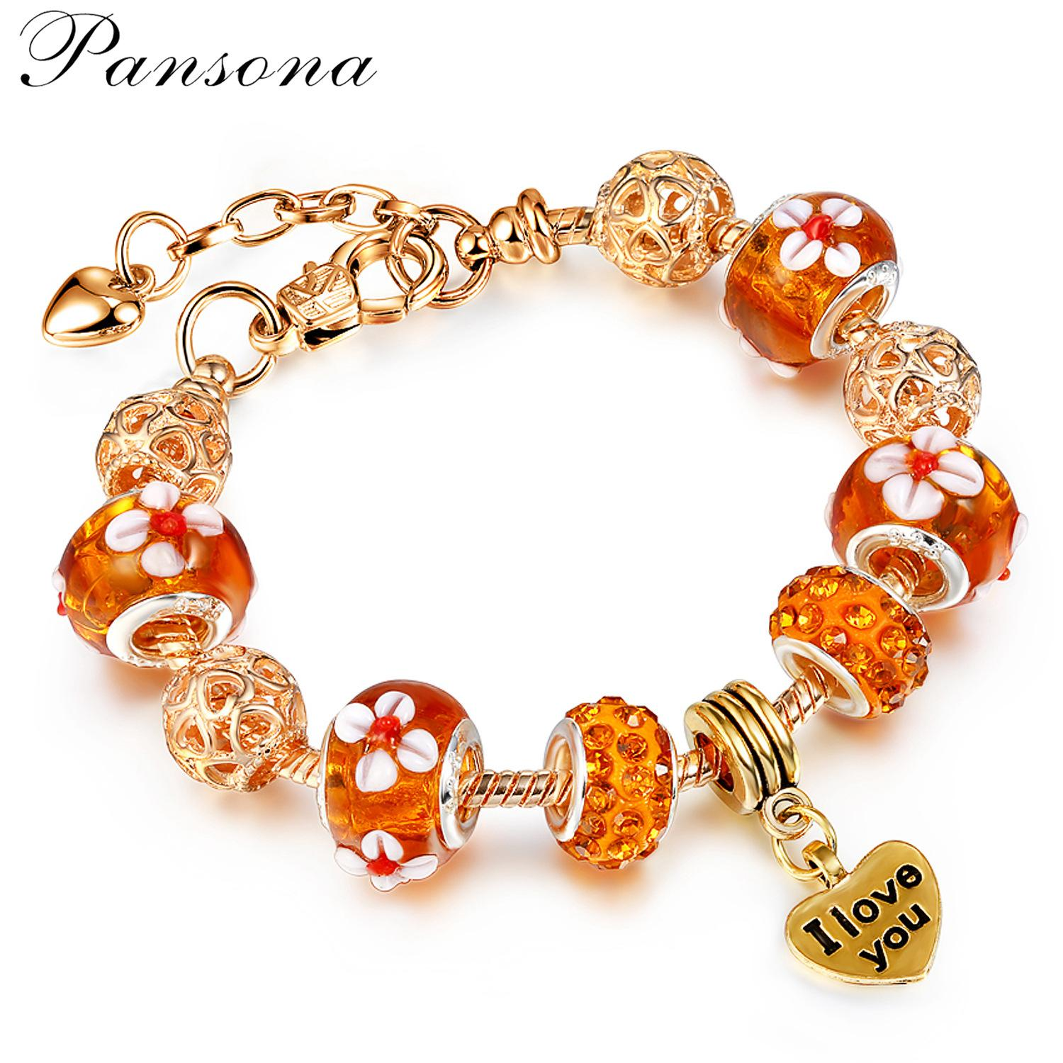 European and American Trend New Gold Hand Hardened Glass European Bead Bracelet for Foreign Trade