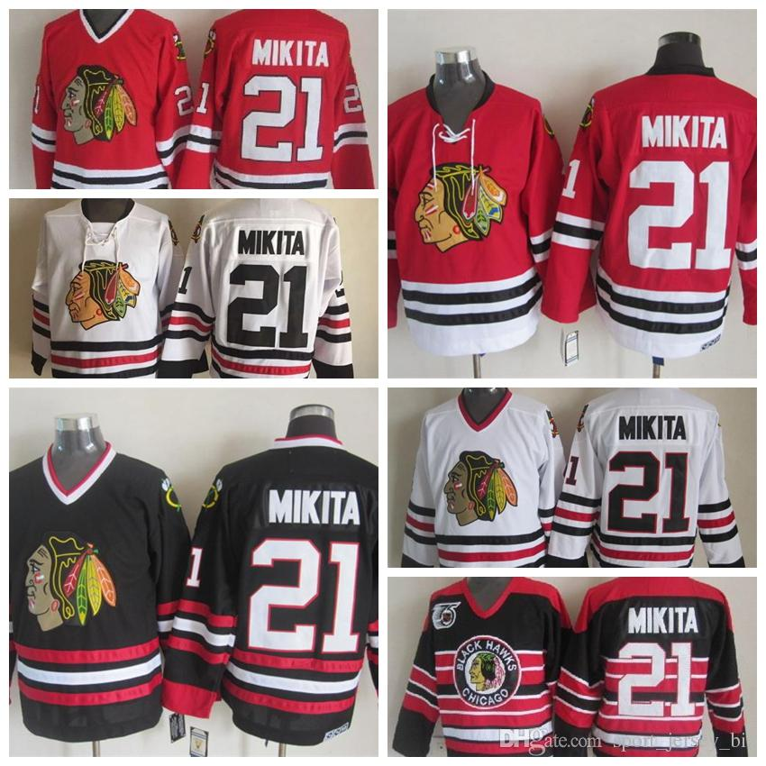 10d2cf257 2019 Vintage Chicago Blackhawks Stan Mikita Jersey Home Red 75th  Anniversary Classic Mens High Quality  21 Stan Mikita Hockey Jersey  Stitched From ...