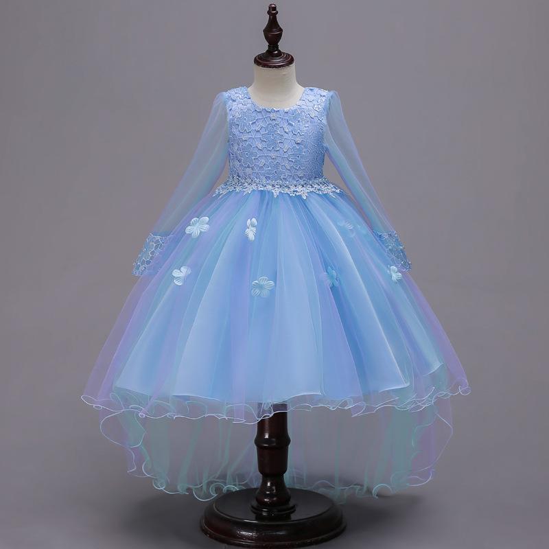 38a01799e90b Neue Blau Rosa Spitze Tüll Blumenmädchen Kleid Prinzessin Perle Ballkleid  Party Hochzeit Mädchen Kleider Für 2-12 Y Abendkleider