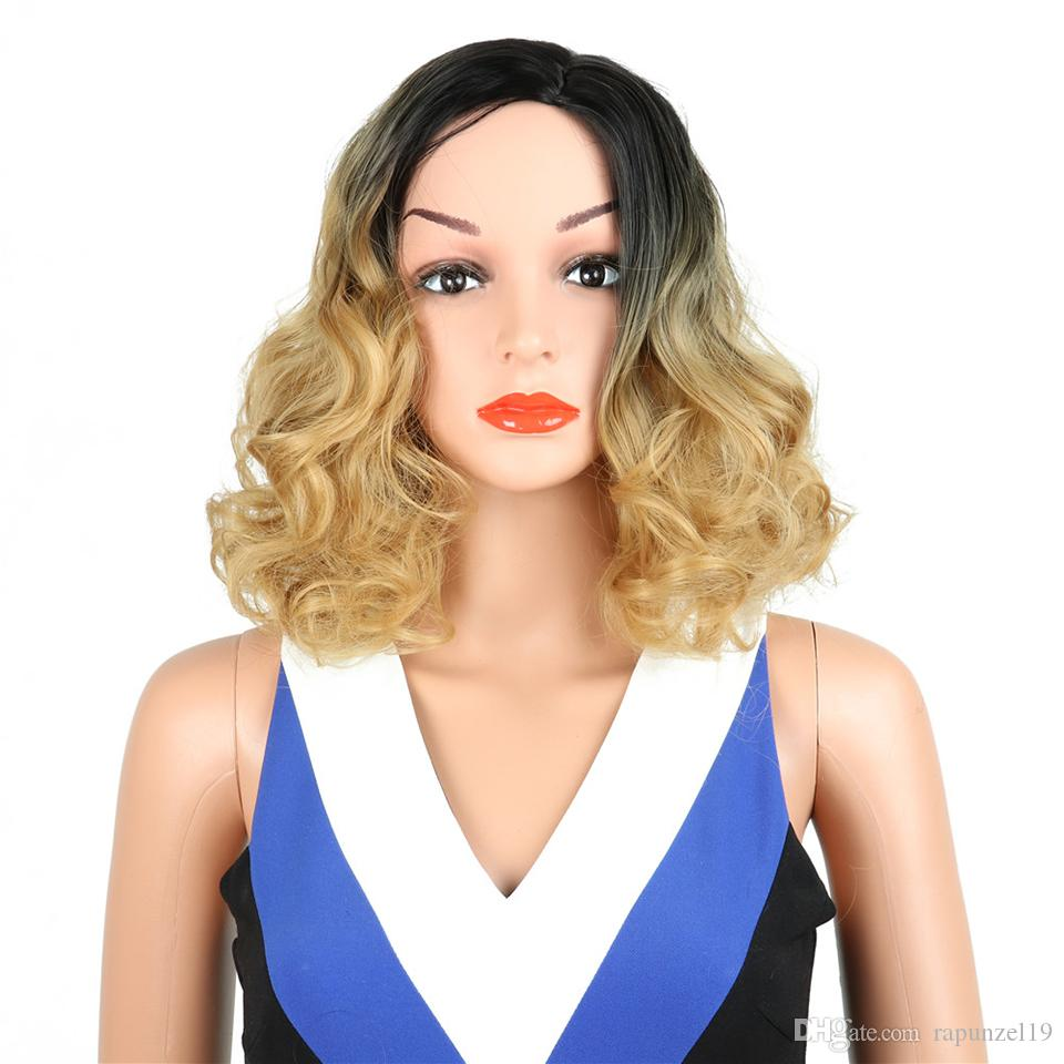 Wholesale Black to Honey Blonde Ombre Hair Wig Short Wavy Bob Wig Natural Hairline Synthetic Wig Water Wave