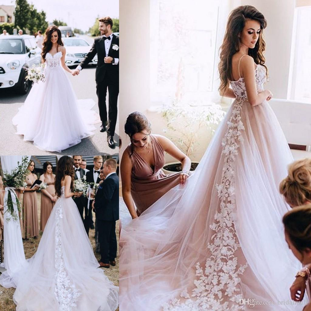 af92acf901fd Discount 3D Floral Appliques Blush Pink Tulle Boho Beach Wedding Dresses  2019 Elegant Spaghetti Straps Garden Country Bridal Gowns Vestidos De Novia  A Line ...
