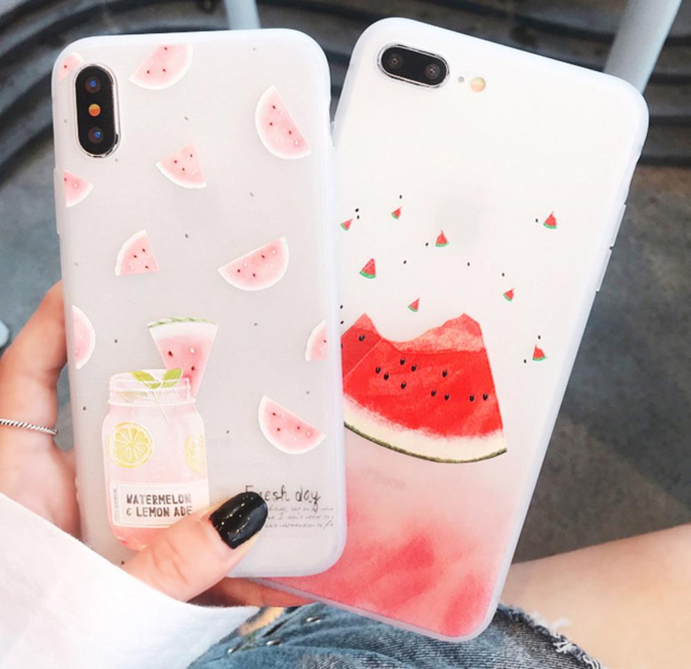 super popular 5790c 02c9b Phone Case For iPhone 7 8 Plus X XS Max XR Fruit Cherry Watermelon Pattern  Back Cover For iPhone 6 6S Plus Soft TPU Cases