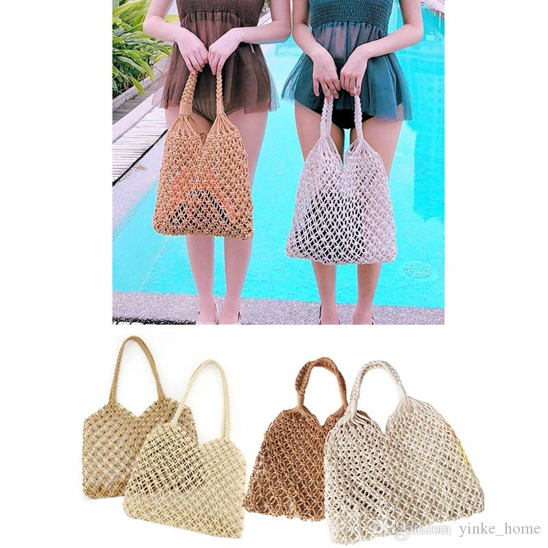 b9896dac342 2019 Fashion String Shopping Grocery Bag Tote Mesh Net Woven Cotton  Shoulder Bag Handmade Hollow Out Weave Hand Totes Travelling Storage Bags  From ...