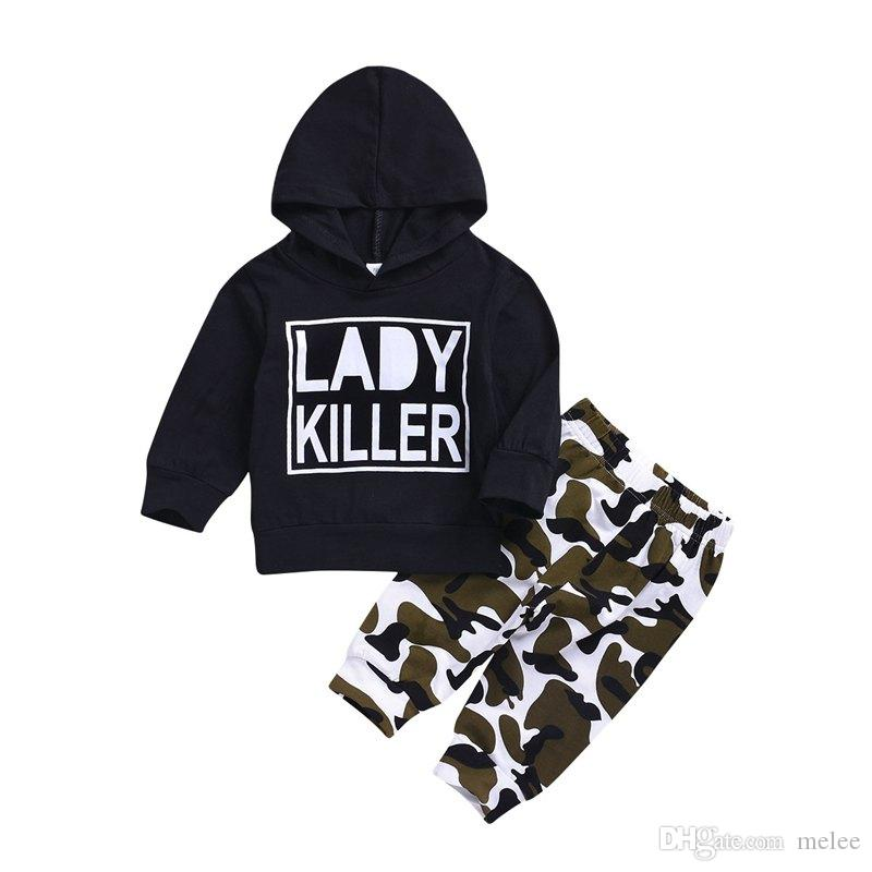 Baby Boy Clothes Long Sleeve LADY KILLER Funny Printed Top Hoodie Jacket + Camouflage Long Pants 2PCS Set