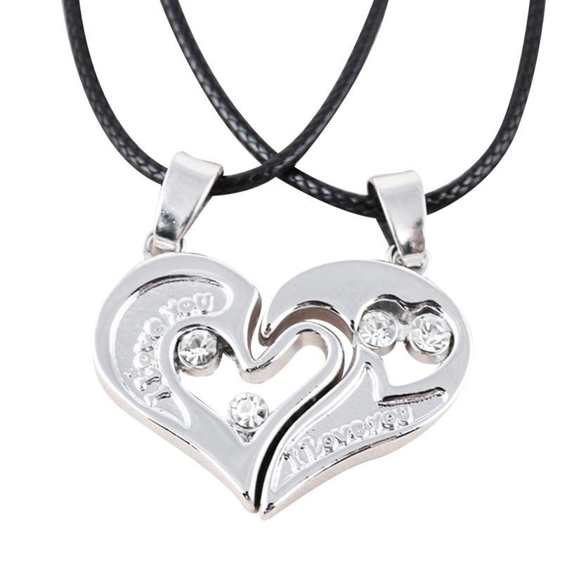 d3f965d96c91 Compre Parejas Románticas Collares De Cristal Con Llave Del Corazón Joyas  Su Amor Por Siempre Colgante Conjunto San Valentín Collares De Acero  Inoxidable A ...