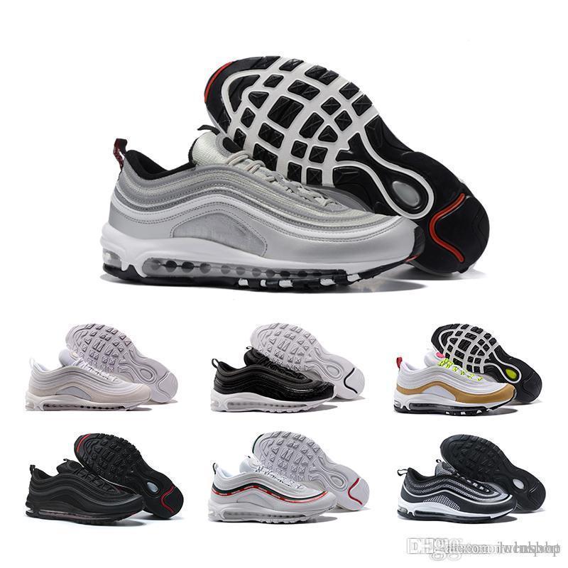 bbfa1312 Compre Nike Air Max 97 2018 97 Zapatos Para Correr 97s SE OG Gold Silver  Bullet Triple Blanco Negro Hombres Mujeres Entrenadores Zapatillas  Deportivas ...
