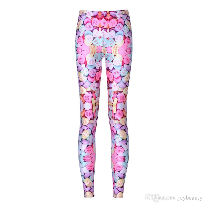 af34ef787 2019 Woman Leggings Love Heart Candy Sweets 3D Graphic Full Printed  Comfortable Pants Lady Fitness Jeggings Girl Soft Sport Trousers RLLgs3565  From ...