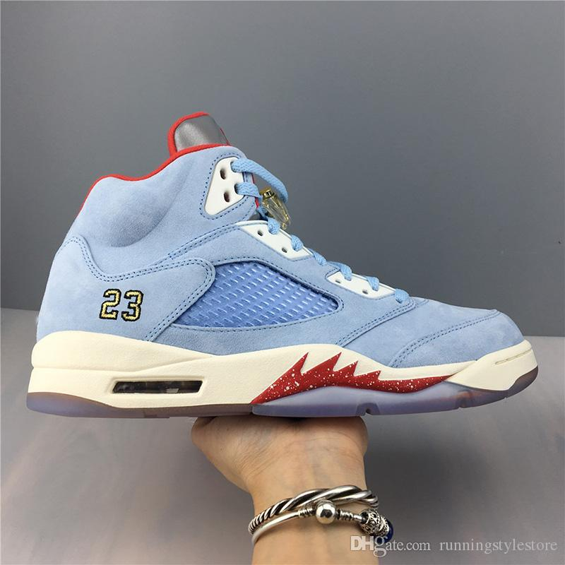 Limited Edition Basketball Shoes 5S Trophy Room 5 Ice Blu Fashion Trending Sneakers Mens Popular Trainers Sports Shoes Size 40-45