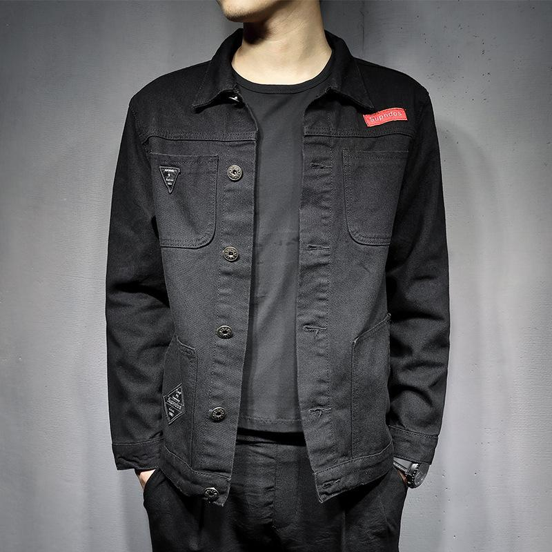 6e203c4fa Pop2019 Spring Pattern Cowboy Clothes-pin Can Male Korean Cool Time Black  Joker Loose Coat Slim Jacket Men s Wear Trend