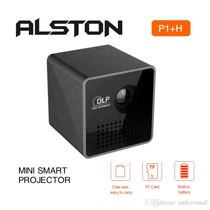 ALSTON Latest upgrade Mini projector P1+H easy to carry WiFi DLP projector HD projection playback with TF card