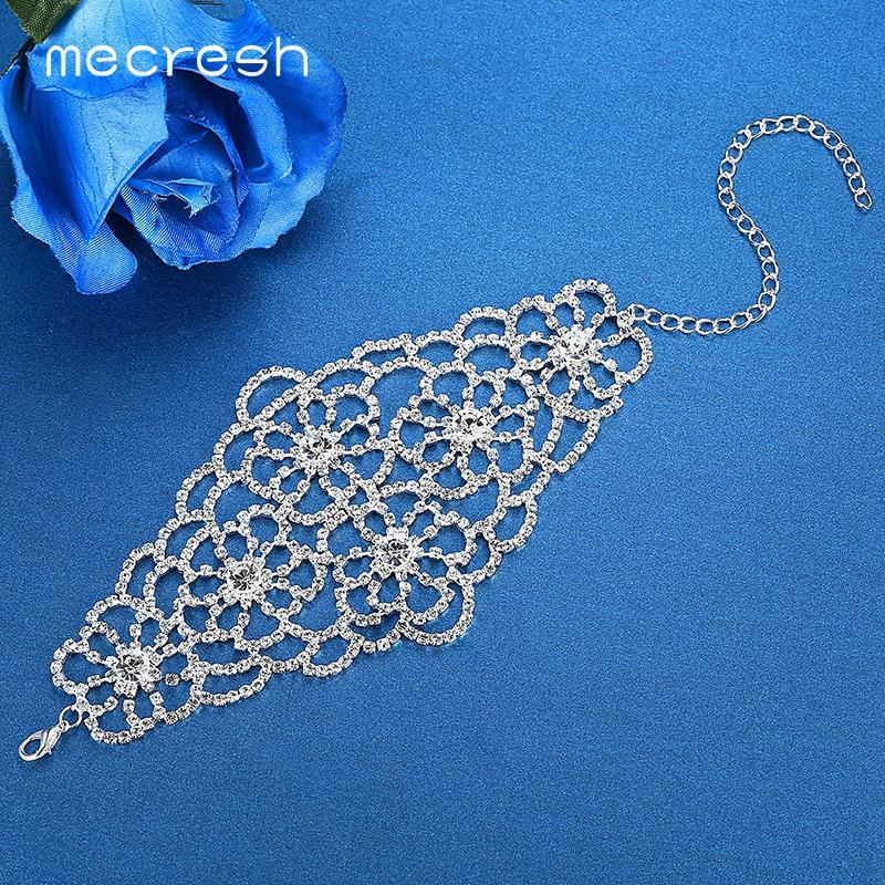 Mecresh Top Crystal Rhinestone Wrap Bracelets for Women Luxury Silver Color Floral Girls Bridal Wedding Bracelets Bangles SL128