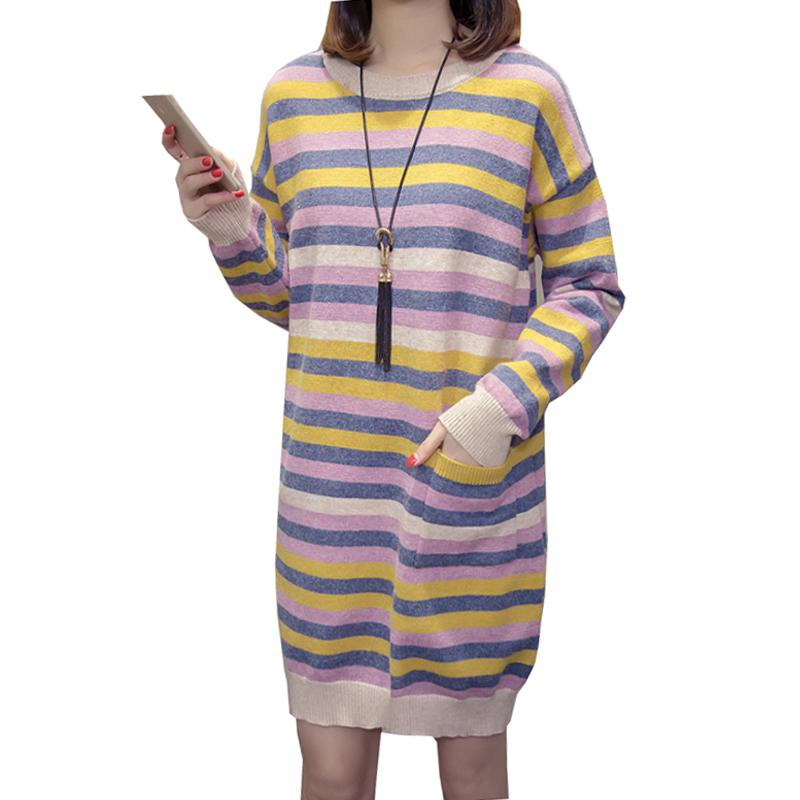 a4738bbea8 2019 Maternity Nursing Sweater Dress Breastfeeding Long Pullovers For  Pregnant Women Rainbow Stripes Dresses Pregnancy Clothes Spring From  Phononame