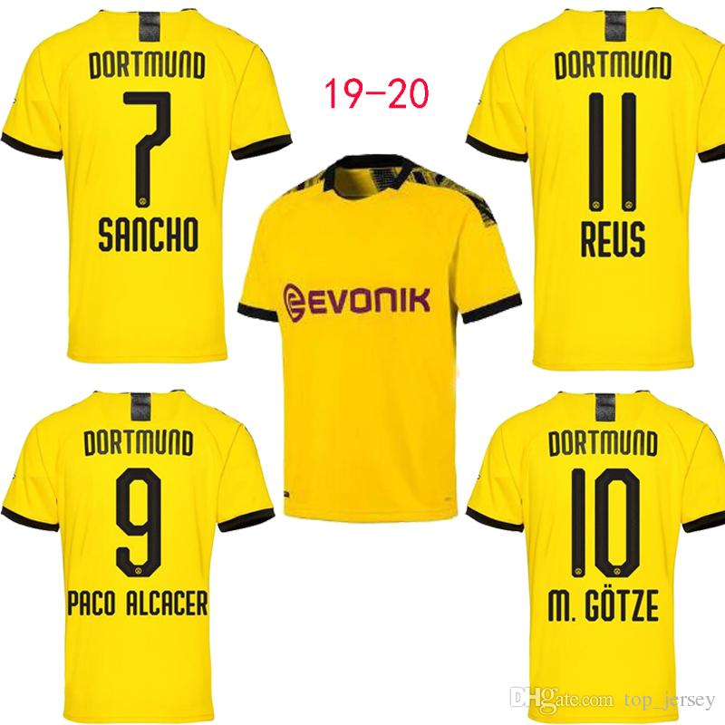 340b827f 2019 Borussia Dortmund SANCHO REUS Hombre Casa Amarillo GOTZE PACO ALCACER  Maillot De Foot Camiseta De Fútbol Camiseta De Fútbol Jersey 19 20 Tamaño S  2XL ...