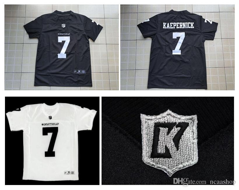 innovative design 970f3 2f2b5 Top Quality ! IMWITHKAP Jersey 7 COLIN KAEPERNICK IM WITH KAP 100% Stitched  Mens Movie Football Jersey White Black