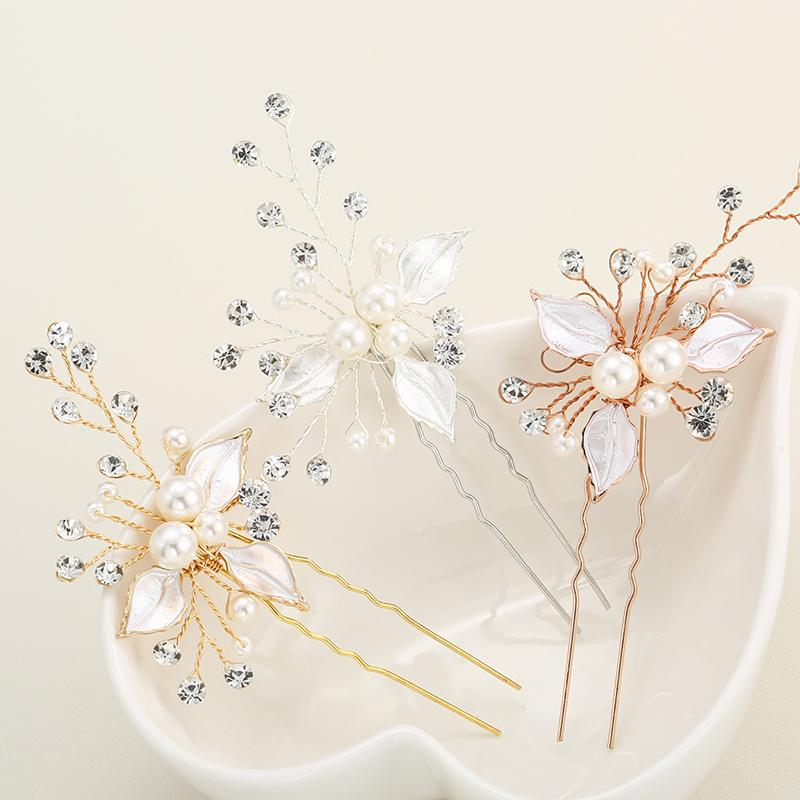 3pcs Lot Fancy Wedding Hair Clips Floral Pearl Beaded Hair Stick Flower Crystal Hair Bridal Hairpins Accessories Jcf001