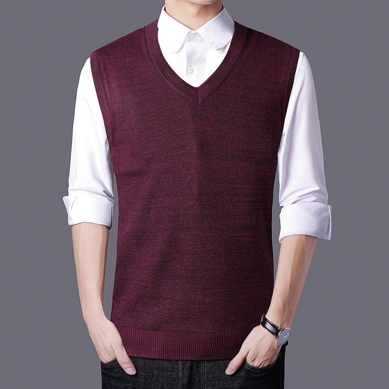 1a3c8ec32 2019 Sleeveless Sweater Tank Tops Men Autumn Warm 100% Cotton Knitted  Jumpers Vest For Men Classic Casual V Neck Basic Vest Tee From Apparelbase
