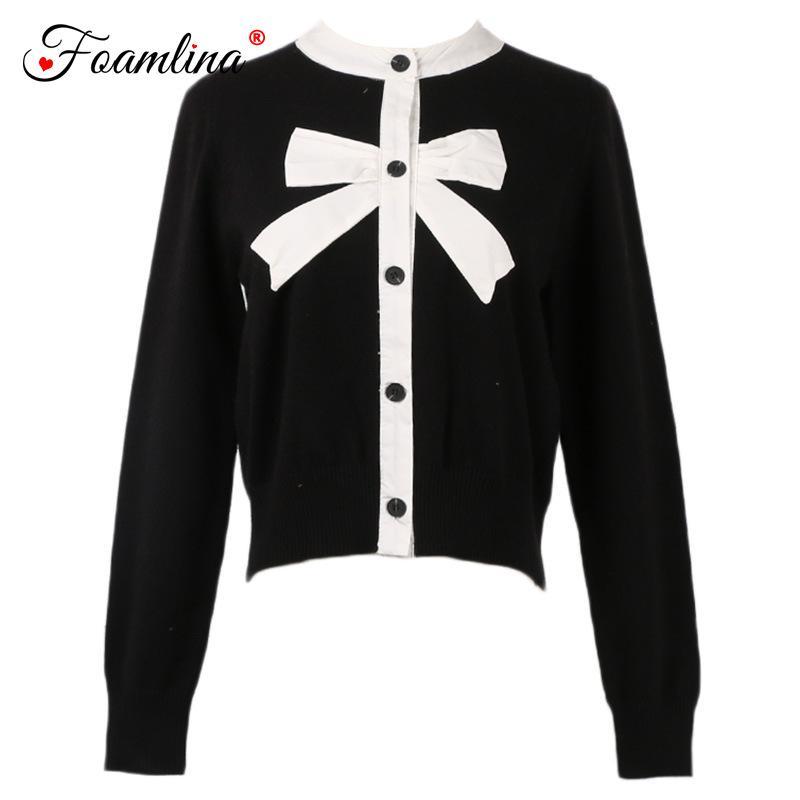 35200de56ab Foamlina Elegant Women Sweater Cardigan Color Block O Neck Long ...