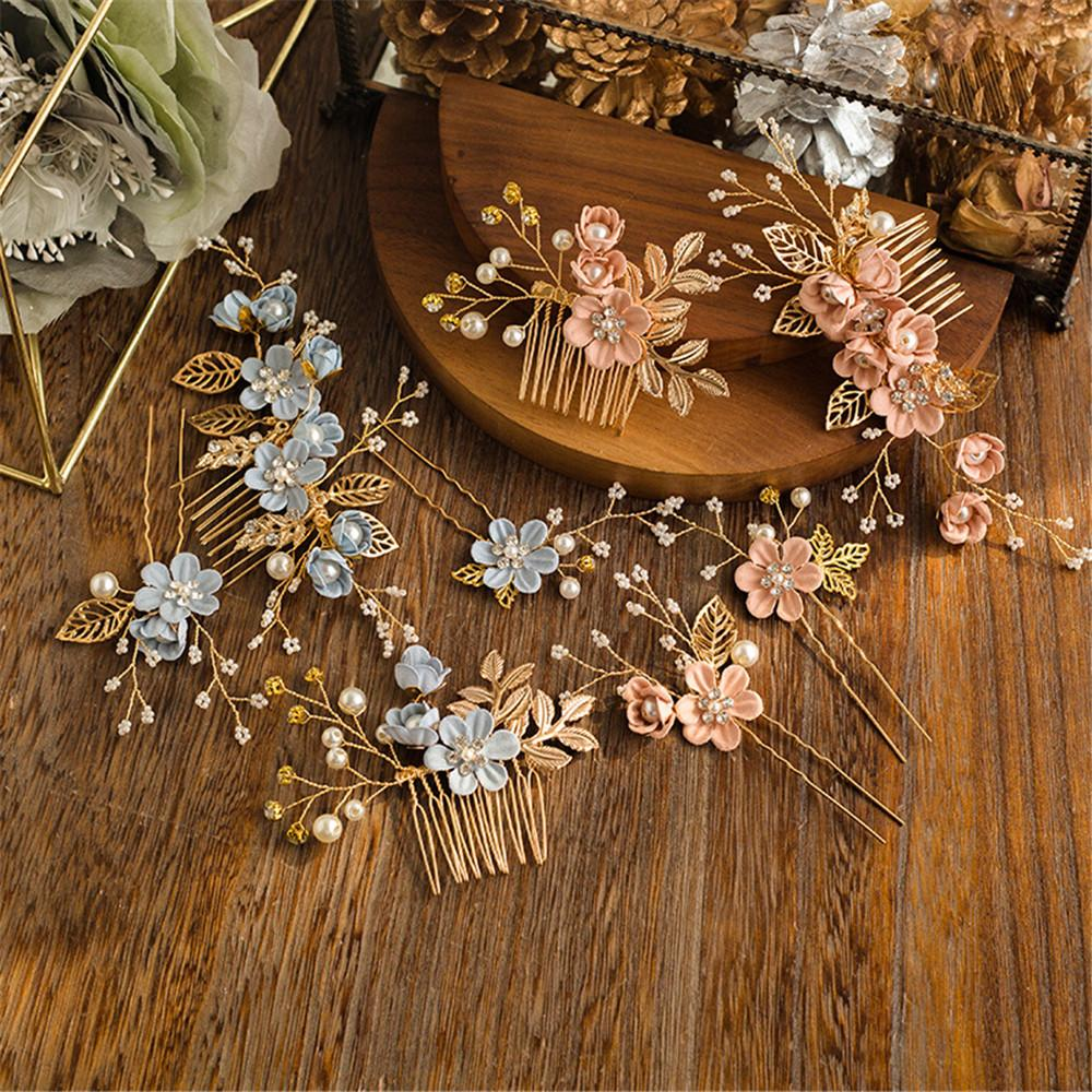 Elegant Luxury Purple Flower Bridal Hair Combs Headdress Prom Wedding Hair Accessories Gold Leaves Jewelry Pearl Pins