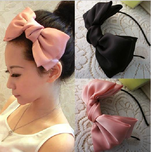 Fashion satin solid color headband double super fairy big bow headband exaggerated satin Korean hair accessories