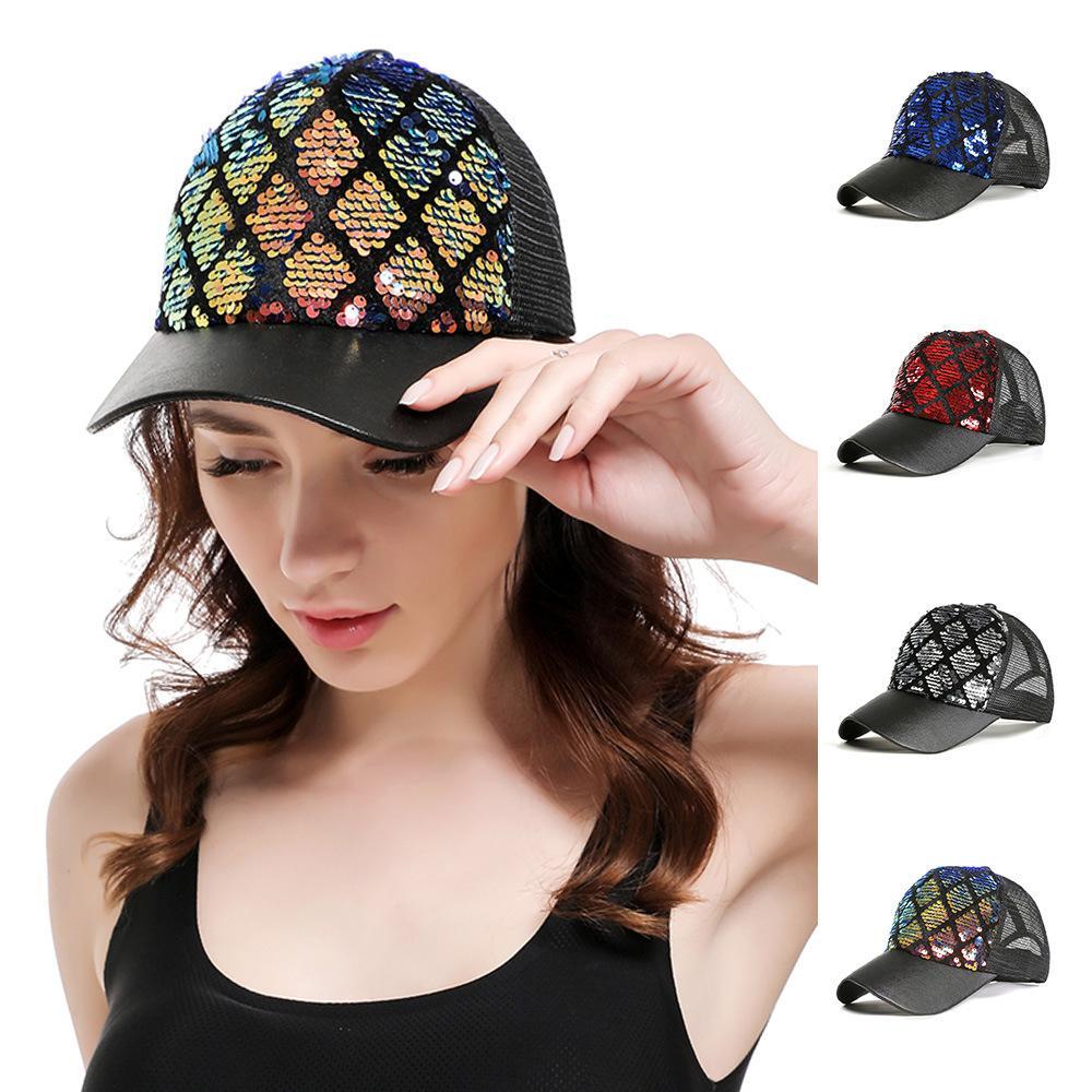 7f0f23ba 2019 Fashion Diamond Lattice Hat Multicolored Mermaid Slice DIY Baseball  Mesh Cap Outdoor Summer Travel Beach Sun Hat TTA957 From B2b_baby, $0.04 |  DHgate.