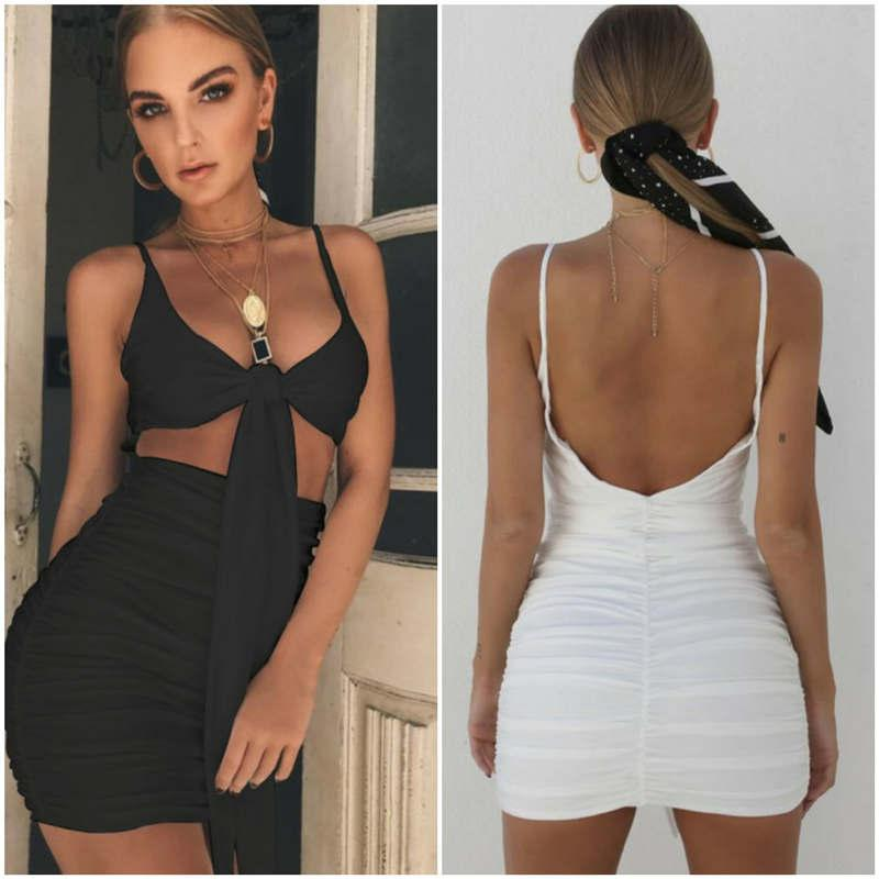 bdae52174e 2019 Black Backless Slip Dress Front Bandage Tie Knot Dress Sexy Ruched Hip Wrap  Mini Dresses Skirts Party Dresses Designer Women Clothes 220110 From ...