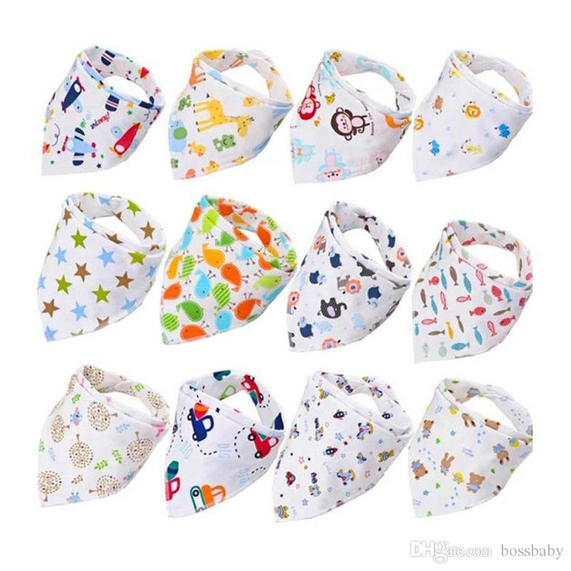 Baby Print Saliva Towel Baby Infant Boy Girl Designer Clothes Cotton Triangle Newborn Turban Bib Scarf Double Snap 19