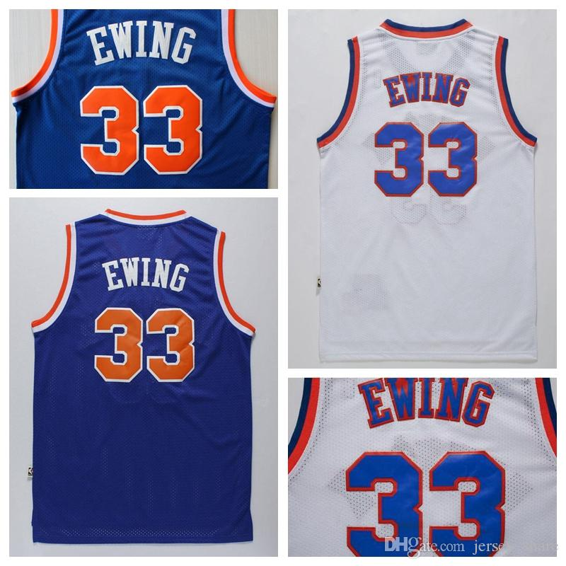 2019 High Quality Cheap  33 Patrick Ewing Jersey Blue White Patrick Ewing  Shirts Stitched Logos Drop Shipping From Jersey share 65545a425