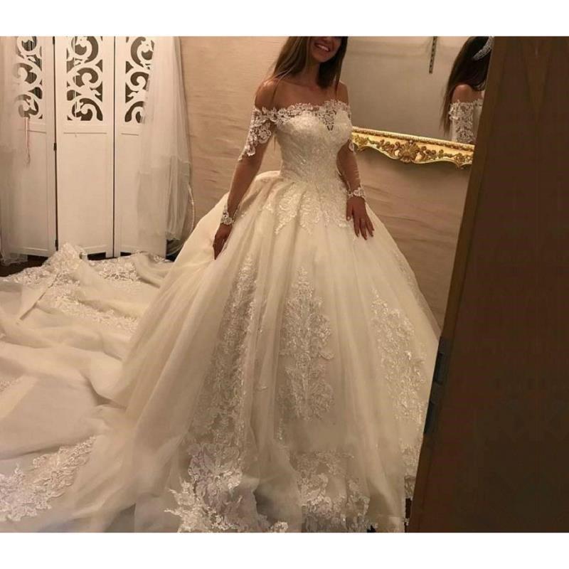 compre de lujo de manga larga vestido de bola vestidos de novia 2019