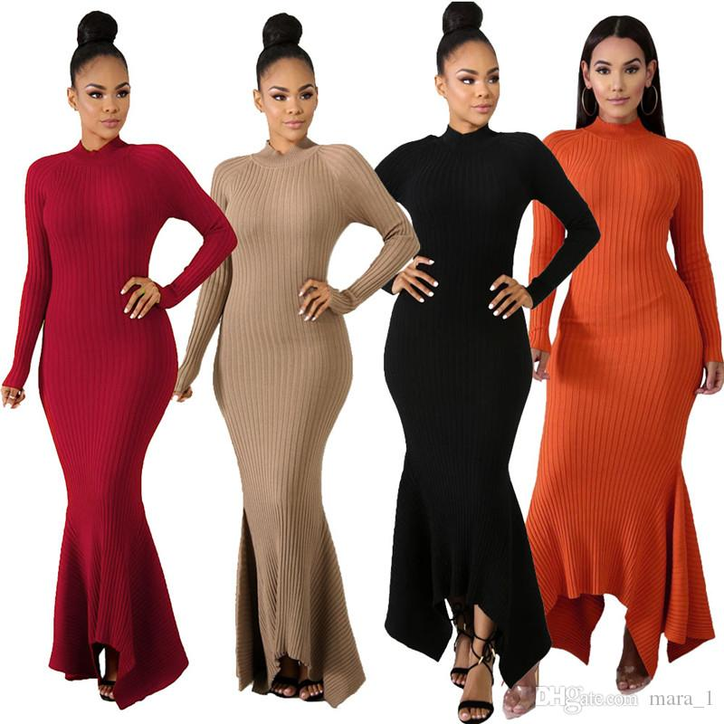 Women Fall Winter Dresses Stand Collar Long Sleeve Maxi Dress Solid Color Ruffle Asymmetrical Casual Fashing Clothing 1808