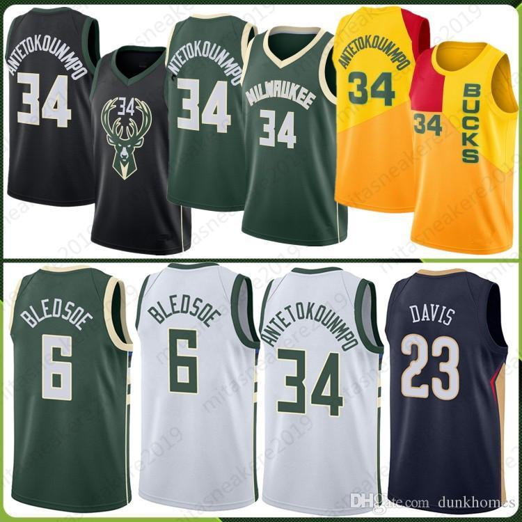 premium selection 7884f 30ace 34 Giannis Milwaukee Antetokounmpo jersey 23 Anthony 34 Ray Davis Allen  Bucks 6 Eric Mesh Bledsoe Retro 2018 new Stitched Jersey