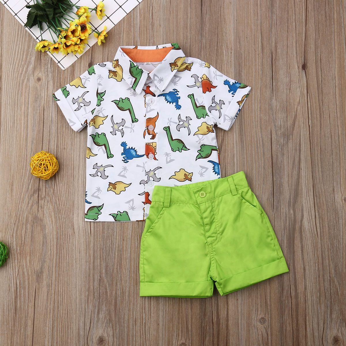 Лето малыш Baby Boy одежда мульти динозавр печати рубашка топы короткие брюки 2 шт. наряды повседневная одежда лето