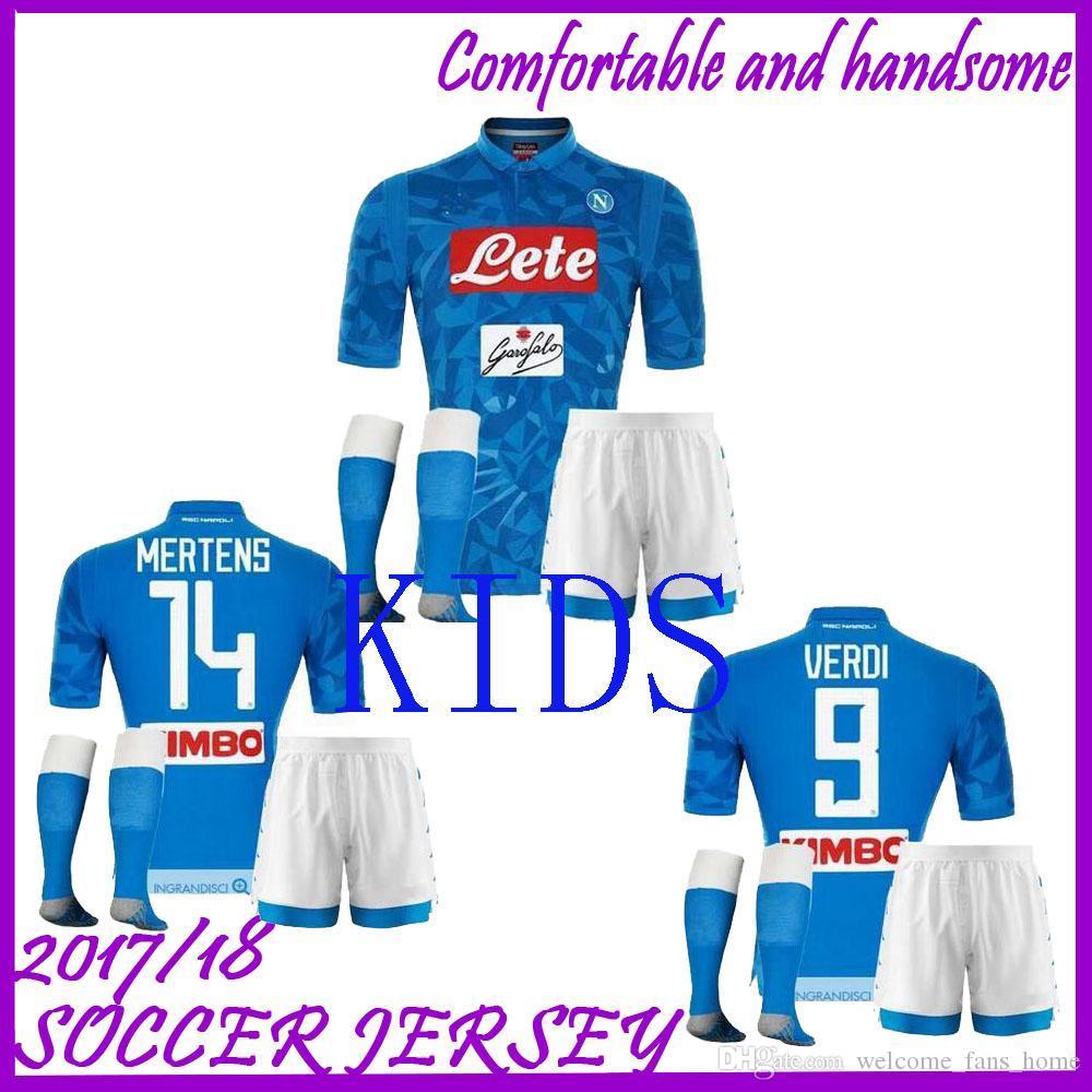 5169b3199c083 KIDS KIT 2018 2019 Napoli Home Soccer Jerseys 18 19 Naples ZIELINSKI HAMSIK  INSIGNE MERTENS CALLEJON PLAYER SSC Children Football Shirts Naples Soccer  ...