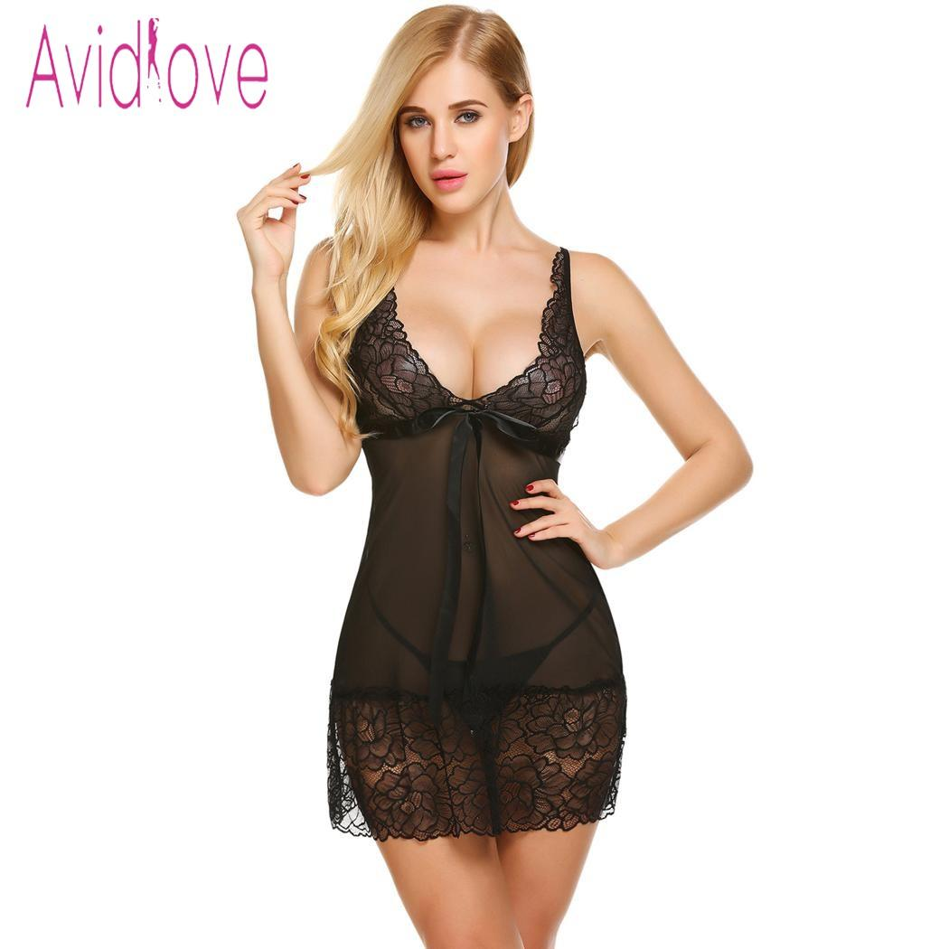 7ca8fb019989 Avidlove Lingerie Sexy Hot Erotic Nightdress Sex Underwear Women Floral  Lace Mesh Babydoll Chemise Nightgown Female Negligee D18120802 Sexy Warm  Pyjamas ...