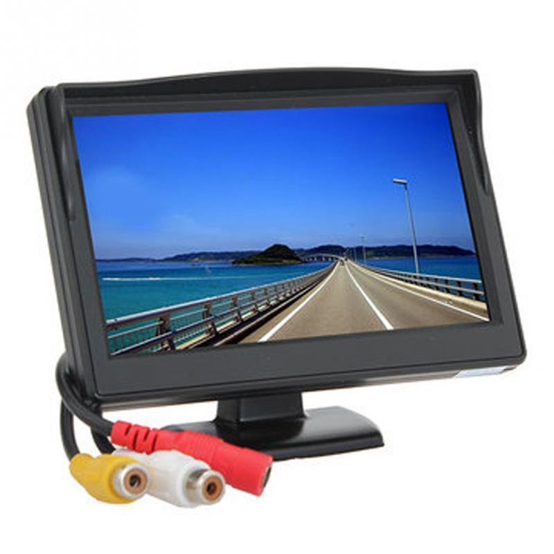 "5"" Inch Car Monitor TFT LCD Screen Digital Color Rear View Monitor Support VCD DVD GPS Camera with 2 Video Inputs+Suction Cup"