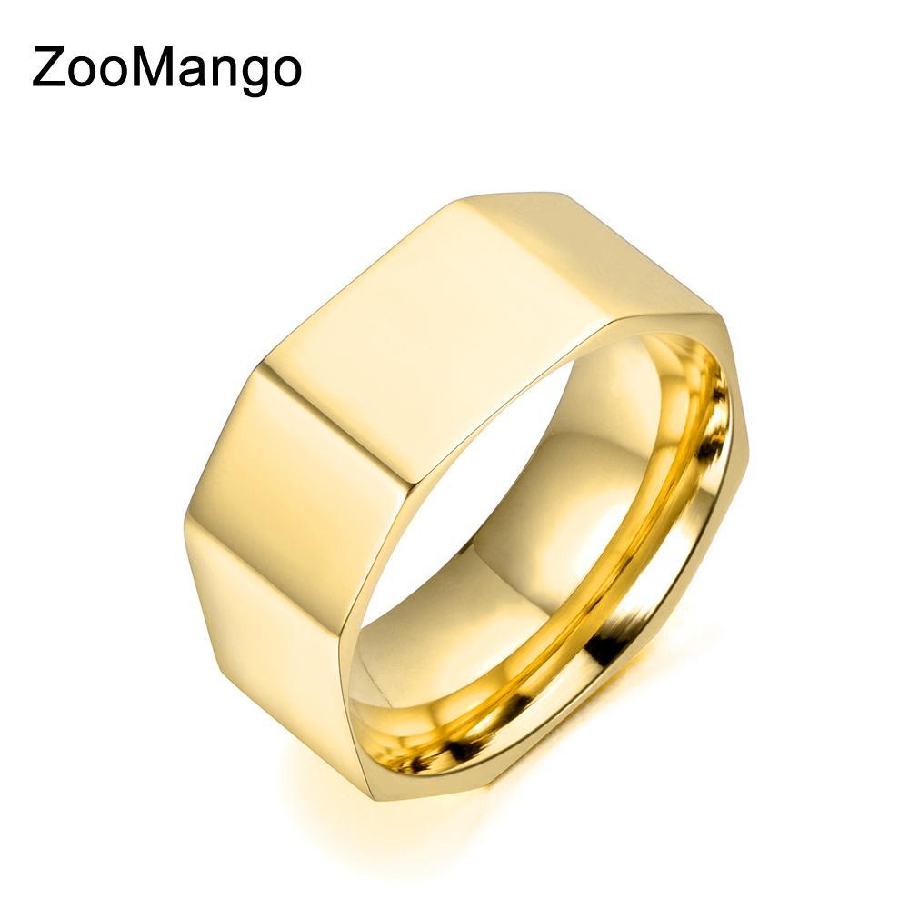 872a781eb682 Compre ZooMango Anillo De Acero Inoxidable Dorado   Blanco   Oro Rosa Color  De Moda Anillo Ancho Anillos De Compromiso De Boda Joyería Para Mujeres  ZR18034 ...
