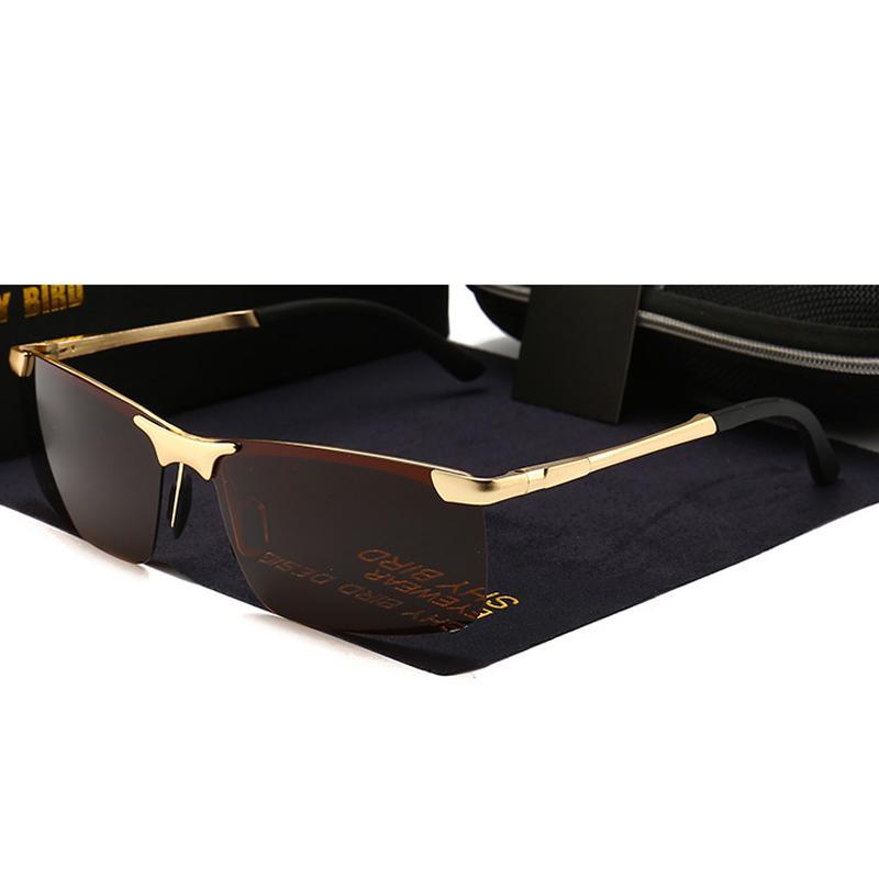 Sin Para Oculos Hd Hombre Rectángulo Conducción De Sol Frame 2018 Calidad Marrón Montura Alta Gold Gafas Polarizadas PkTOuXZiw