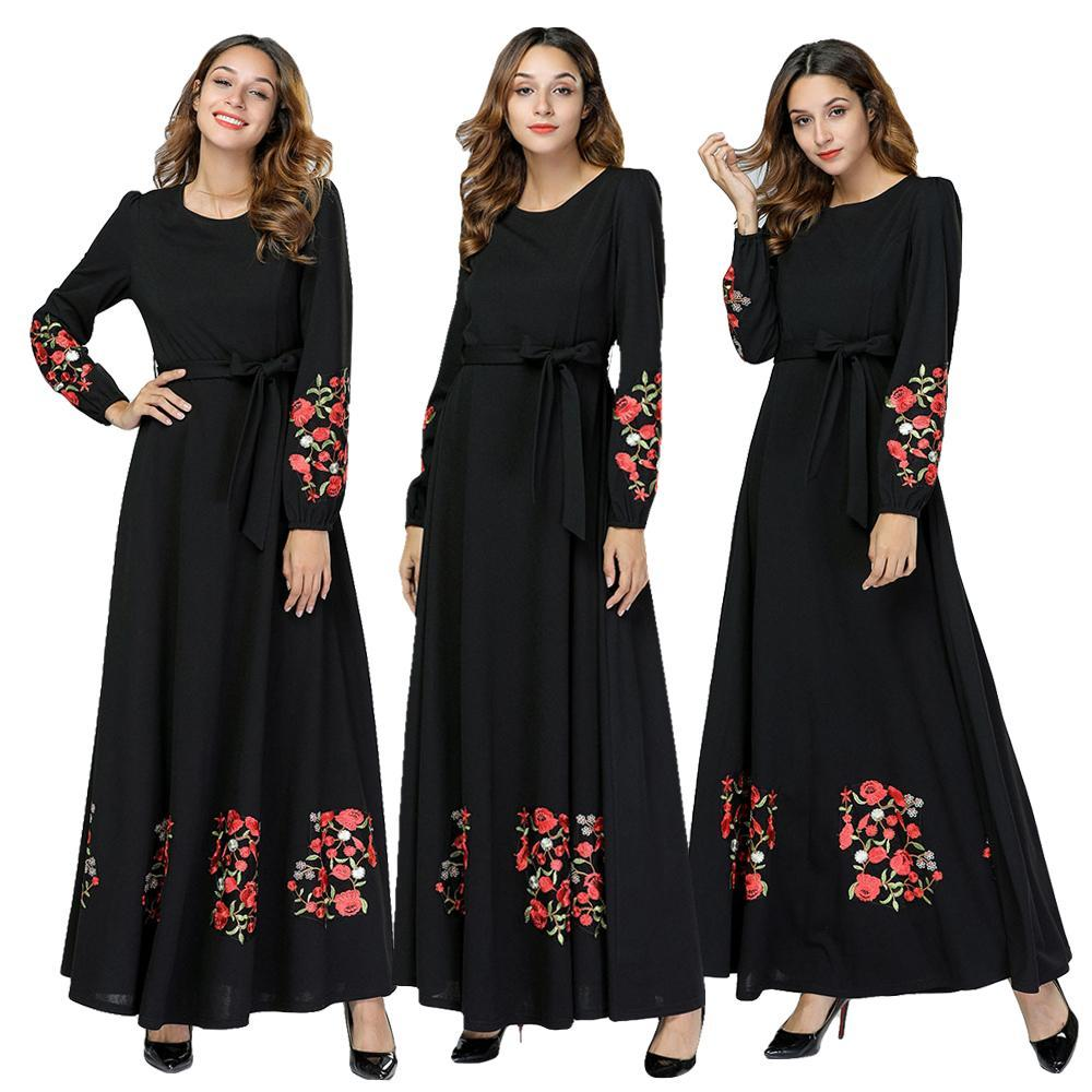 54afaf2959 Muslim Women Embroidery Long Maxi Dress Jilbab Dubai Kaftan Robe ...