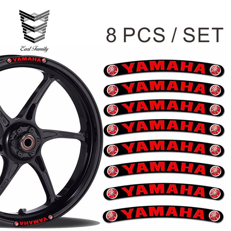 EARLFAMILY 10cm x 1cm 8X for YAMAHA Wheel Rim Vinyl Stickers Stripes MOTO  Car Bike MOTORCYCLE Tuning R18