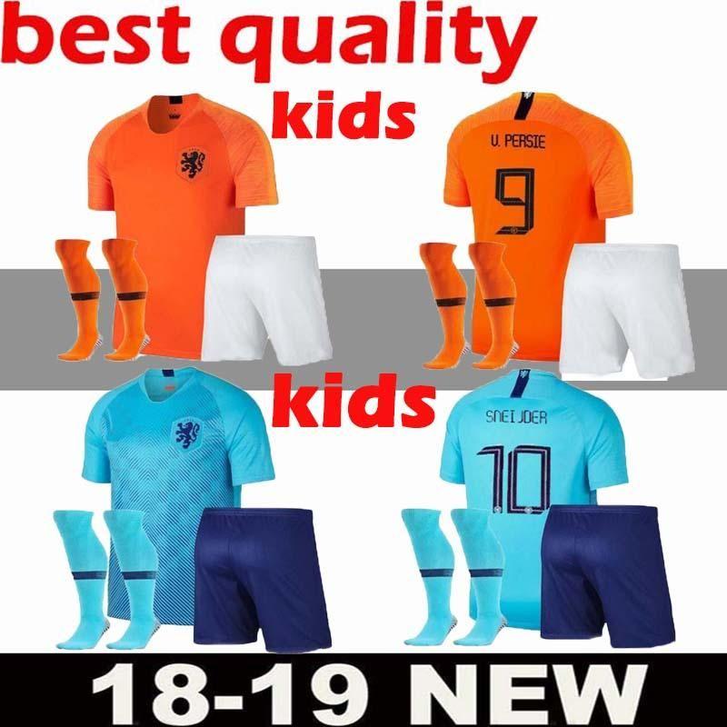 049663a8d5b40 Compre 2018 2019 Camisola De Futebol KIDS KIT Holanda Home 18 19 Liga  Nacional De Europeus De Distância Virgil V.PERSIE SNEIJDER MEMPHIS CHILD  Camisas De ...
