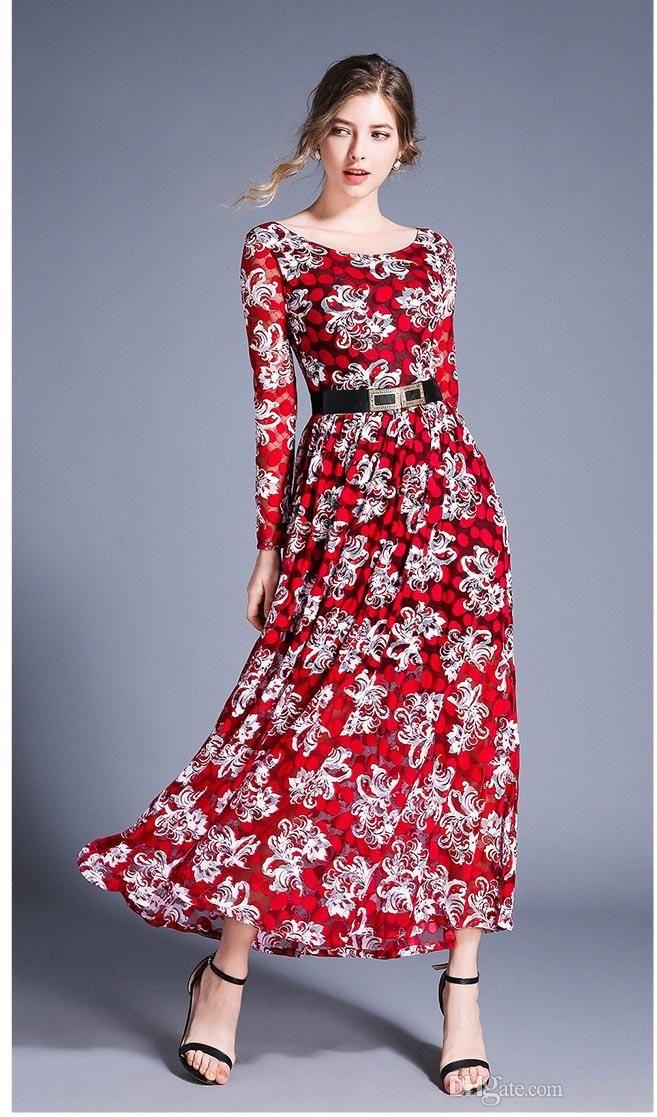 8999a9c706 Women Maxi Dress Vintage Red Floral Print Europe Roman Elegant Long Sleeve  Scoop Neck Spring Slash Ladies Fashion Royal Style DHL Free